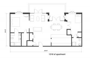 7. NF Condo Unit 1316 sf 2 bedroom